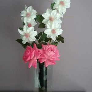 Pink Roses With Cream Clematis Display