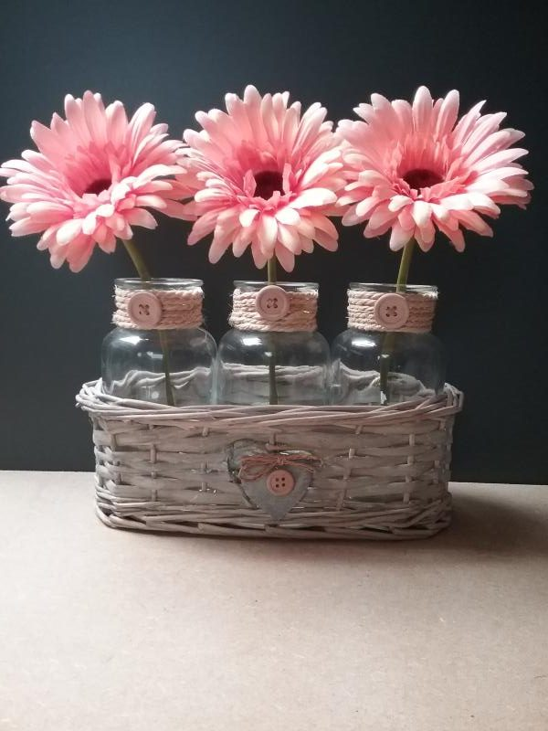 Orange Gerberas In A Wicker Basket