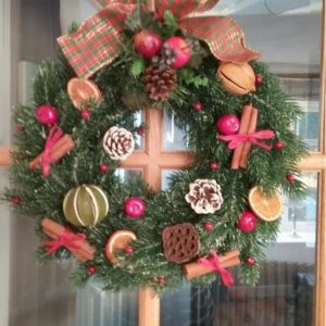 Christmas Wreath With Red Bows