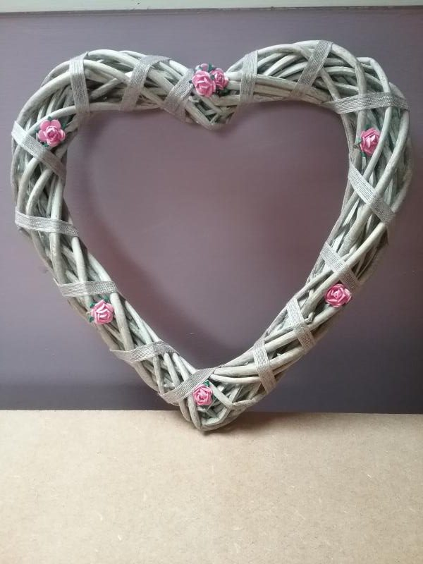 Wicker Heart With Pink Roses